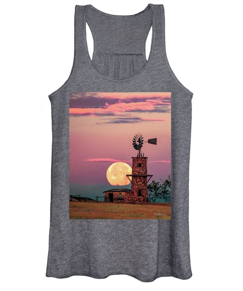Windmill At Moonset Women's Tank Top