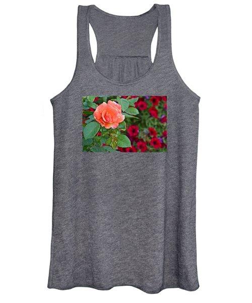 2015 Fall Equinox At The Garden Sunset Rose And Petunias Women's Tank Top