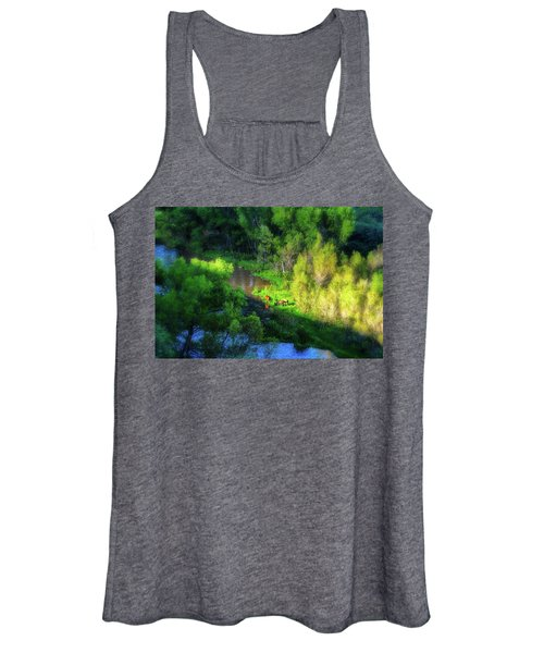 3 Horses Grazing On The Bank Of The Verde River Women's Tank Top