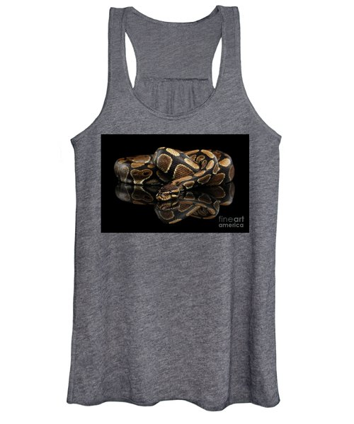 Ball Or Royal Python Snake On Isolated Black Background Women's Tank Top