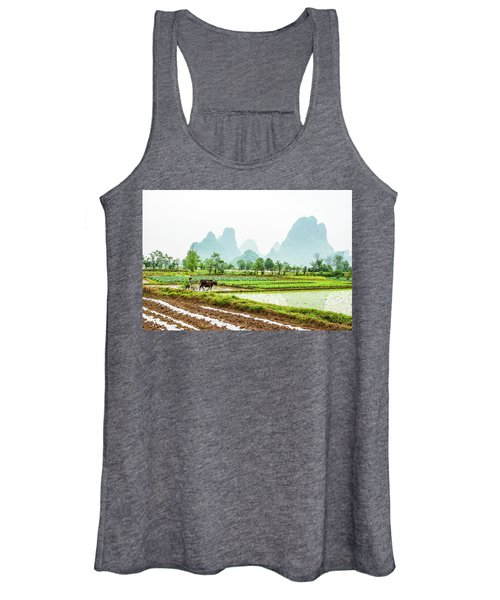 Karst Rural Scenery In Spring Women's Tank Top