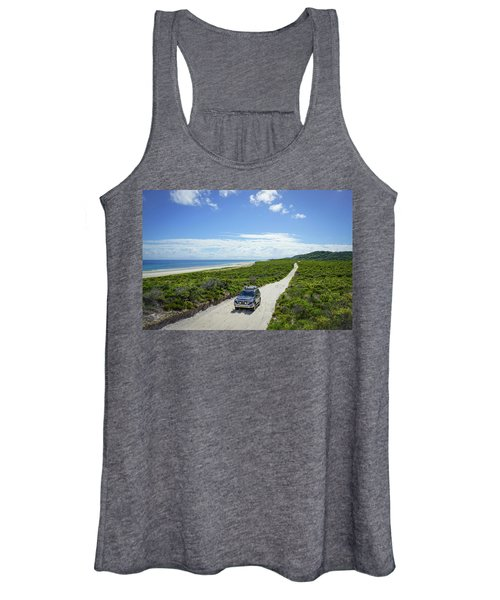 4wd Car Exploring Remote Track On Sand Island Women's Tank Top