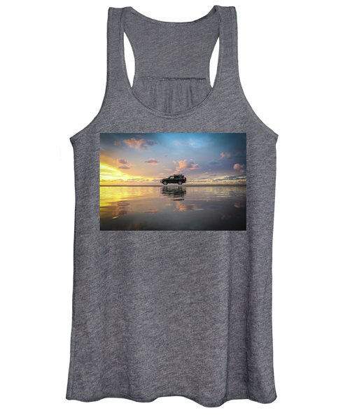 4wd Vehicle And Stunning Sunset Reflections On Beach Women's Tank Top