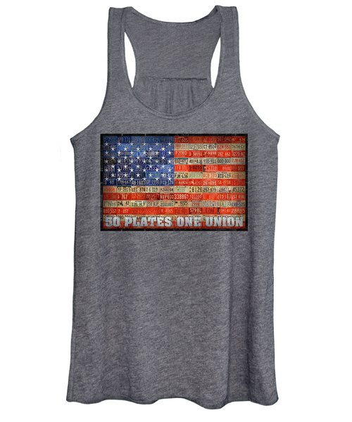50 Plates One Union Recycled License Plate American Flag Women's Tank Top