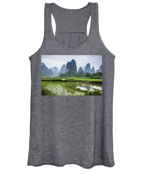 The Beautiful Karst Rural Scenery In Spring Women's Tank Top