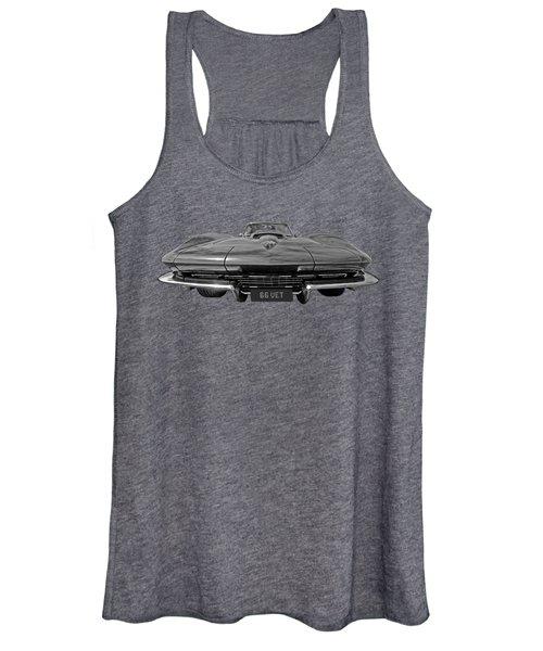 66 Vette Stingray In Black And White Women's Tank Top