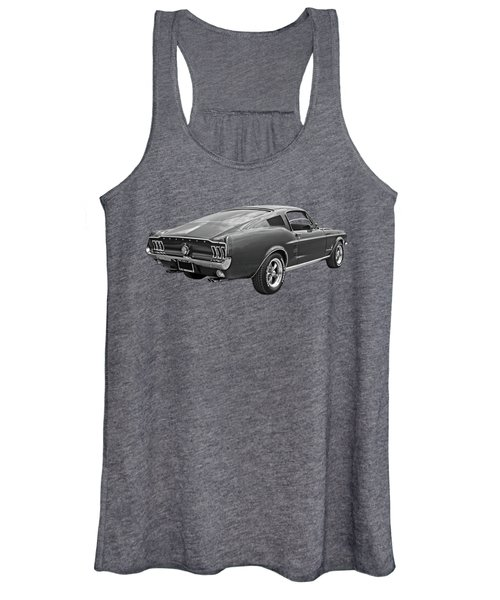 67 Fastback Mustang In Black And White Women's Tank Top