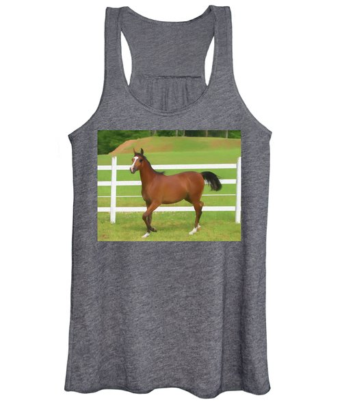 A Beautiful Arabian Filly In The Pasture. Women's Tank Top