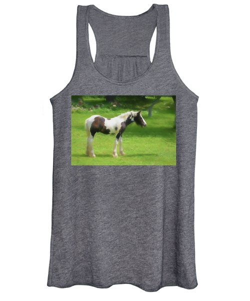 A Beautiful Young Gypsy Vanner Standing In The Pasture Women's Tank Top
