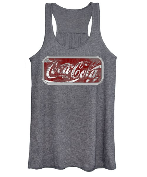 Coca Cola Red And Grey White Letters Sign With Transparent Background Women's Tank Top