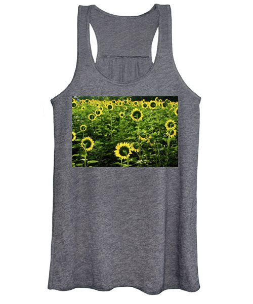 A Flock Of Blooming Sunflowers Women's Tank Top
