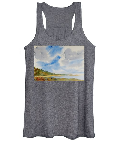 A Secluded Inlet Beneath Billowing Clouds Women's Tank Top