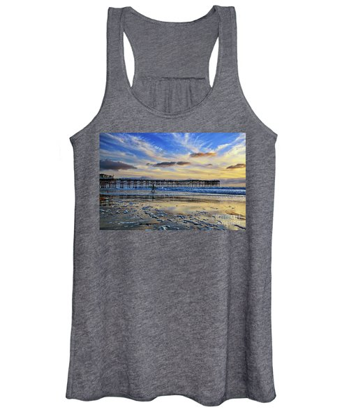 A Surfer Heads Home Under A Cloudy Sunset At Crystal Pier Women's Tank Top