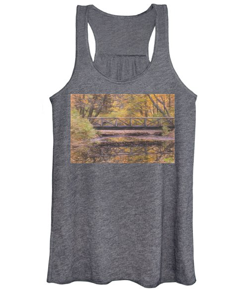 A Walking Bridge Reflection On Peaceful Flowing Water. Women's Tank Top
