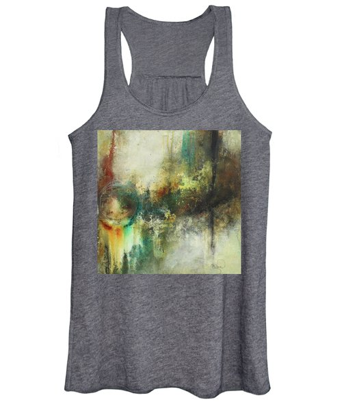 Abstract Art With Blue Green And Warm Tones Women's Tank Top
