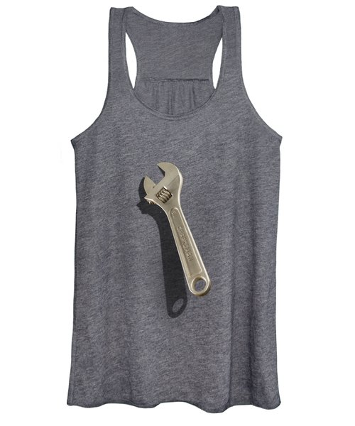 Adjustable Wrench Over Black And White Wood 72 Women's Tank Top