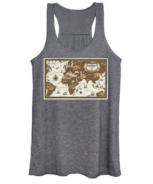 Air France - Historical Illustrated Map Of The World - Lucien Boucher - Cartography Women's Tank Top
