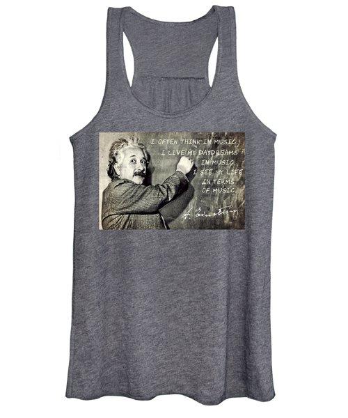 Albert Einstein, Physicist Who Loved Music Women's Tank Top