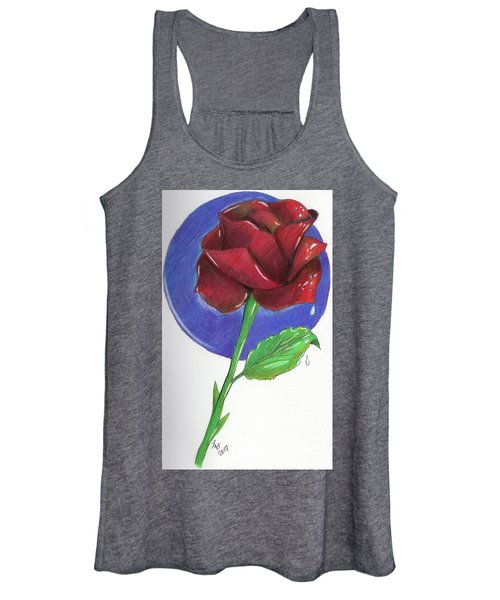 Women's Tank Top featuring the drawing Almost Black Rose by Loretta Nash