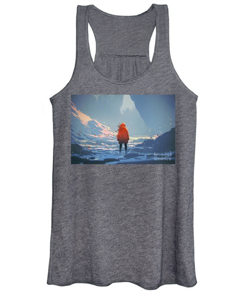 Women's Tank Top featuring the painting Alone In Winter by Tithi Luadthong