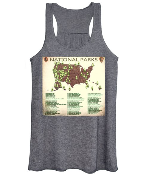 America National Parks Map Women's Tank Top