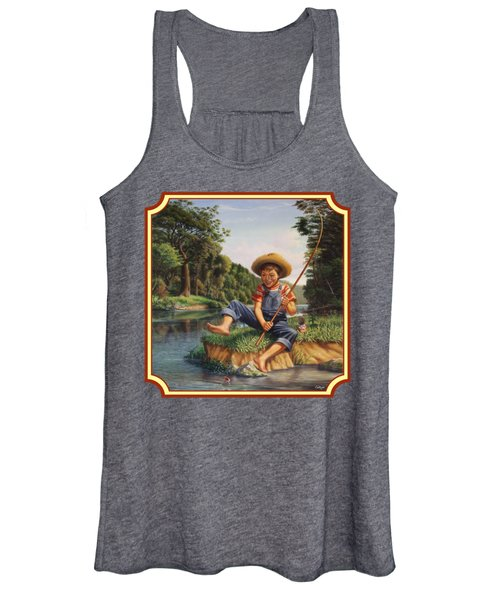 Americana - Country Boy Fishing In River Landscape - Square Format Image Women's Tank Top