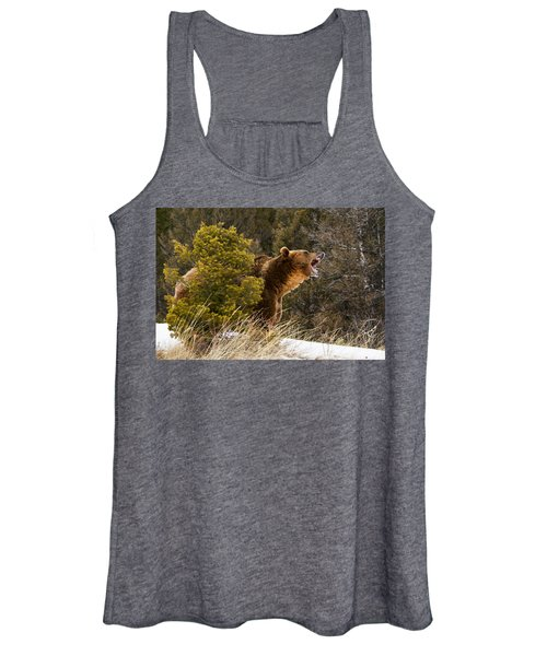 Angry Grizzly Behind Tree Women's Tank Top