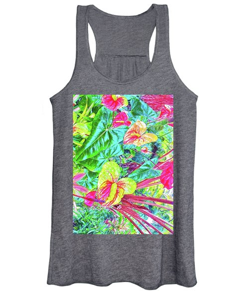 Anthuriums Pink And Turquoise Women's Tank Top