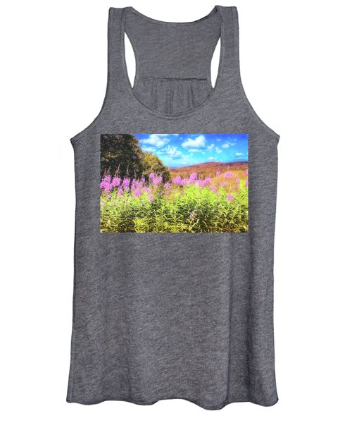 Art Photo Of Vermont Rolling Hills With Pink Flowers In The Foreground Women's Tank Top