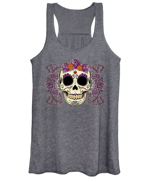 Vintage Sugar Skull And Roses Women's Tank Top