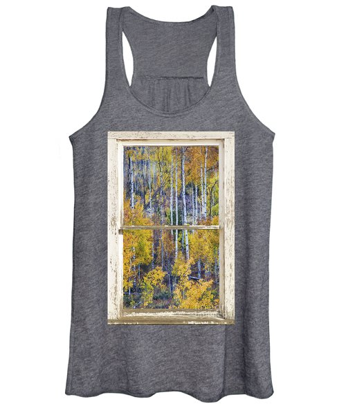 Aspen Tree Magic Cottonwood Pass White Farm House Window Art Women's Tank Top