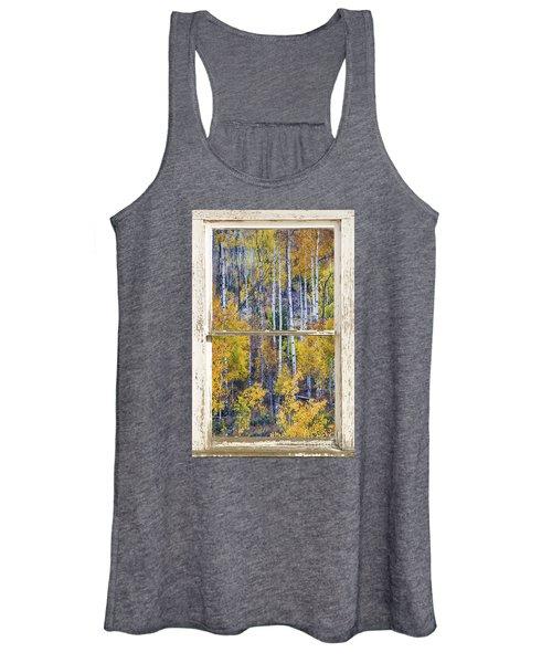 Aspen Tree Magic Cottonwood Pass White Farm House Window Art Women's Tank Top