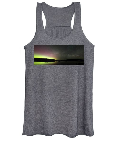 Aurora Borealis And Milky Way Over Yellowstone River Women's Tank Top