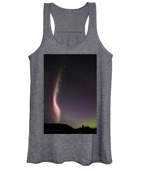 Auroral Phenomonen Known As Steve With A Large Meteor Women's Tank Top