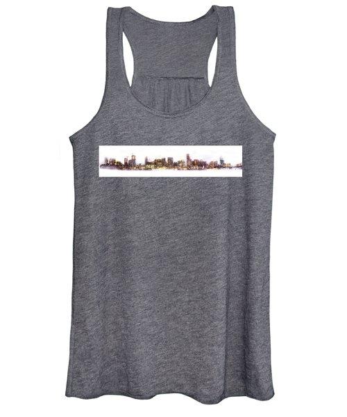 Austin Texas Skyline With White Blackground  Women's Tank Top