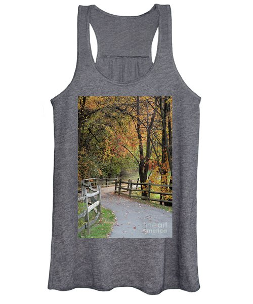 Autumn Path In Park In Maryland Women's Tank Top
