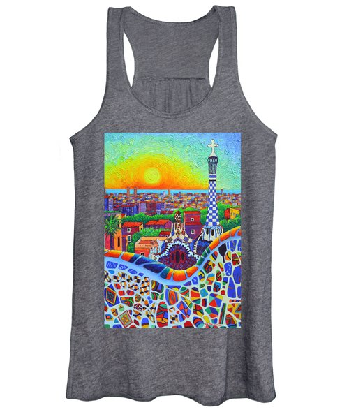 Barcelona Park Guell Sunrise Gaudi Tower Textural Impasto Knife Oil Painting By Ana Maria Edulescu Women's Tank Top