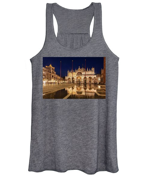 Basilica San Marco Reflections At Night - Venice, Italy Women's Tank Top