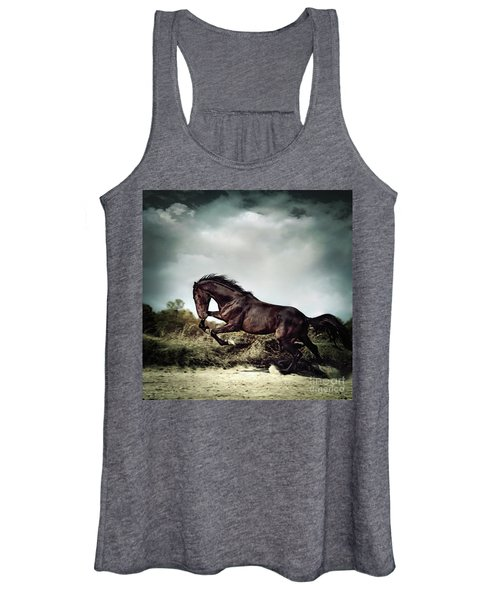 Beautiful Black Stallion Horse Running On The Stormy Sky Women's Tank Top