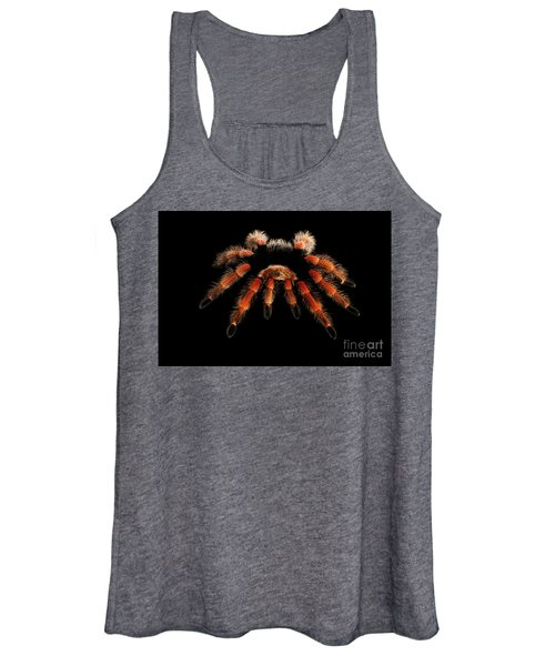 Big Hairy Tarantula Theraphosidae Isolated On Black Background Women's Tank Top