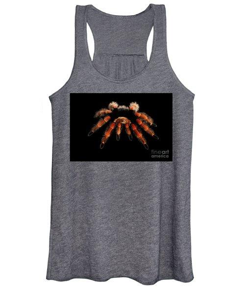 Big Hairy Tarantula Theraphosidae Isolated On Black Background Women's Tank Top