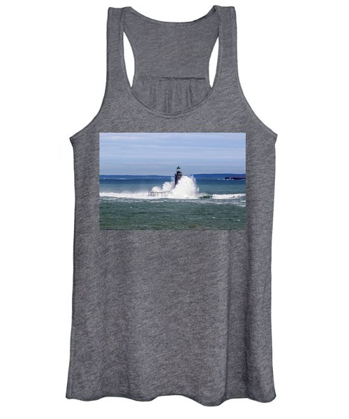 Big Wave Hits Ram Island Ledge Light Women's Tank Top