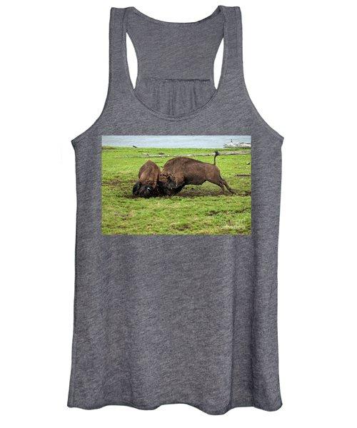Bison Fighting Women's Tank Top