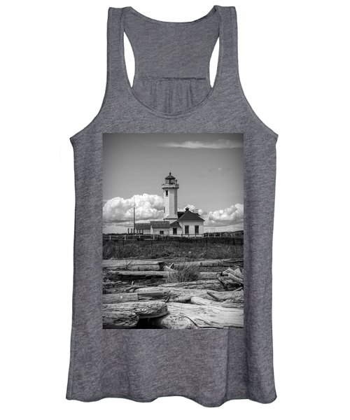 Black And White Lighthouse With Driftwood Women's Tank Top