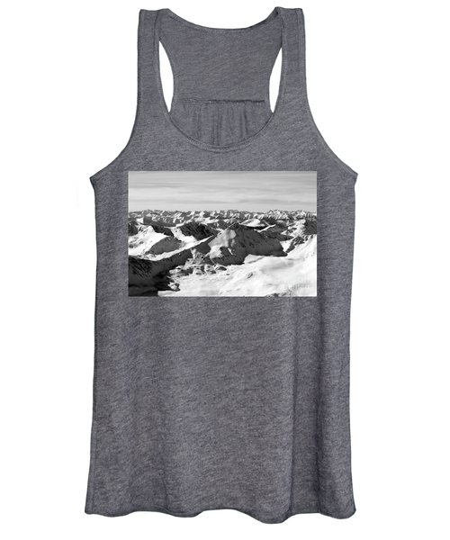 Black And White Of The Summit Of Mount Elbert Colorado In Winter Women's Tank Top