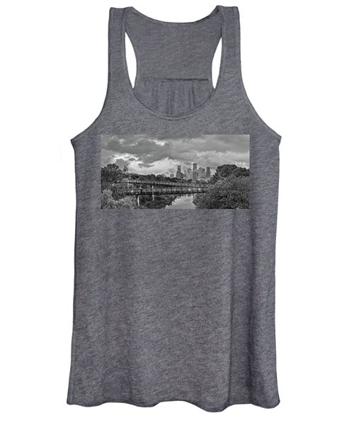 Black And White Panorama Of Downtown Houston And Buffalo Bayou From The Studemont Bridge - Texas Women's Tank Top