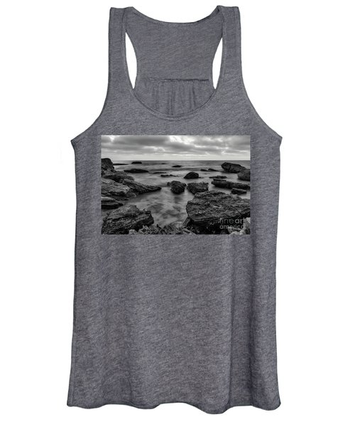 Black And White Sunset At Low Tide Women's Tank Top