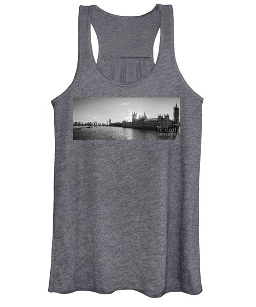 Black And White View Of Thames River And House Of Parlament From Women's Tank Top