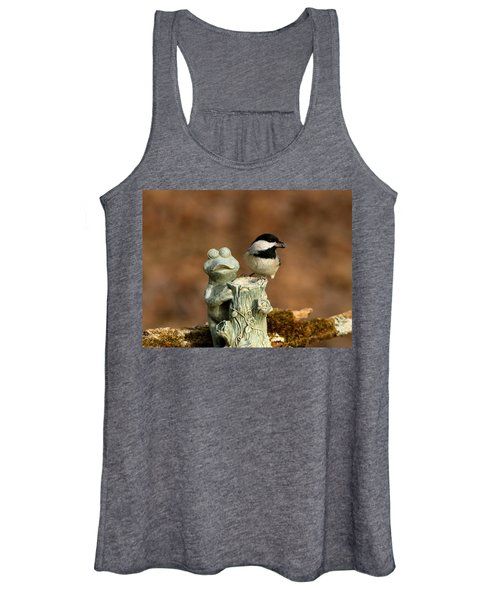 Black-capped Chickadee And Frog Women's Tank Top