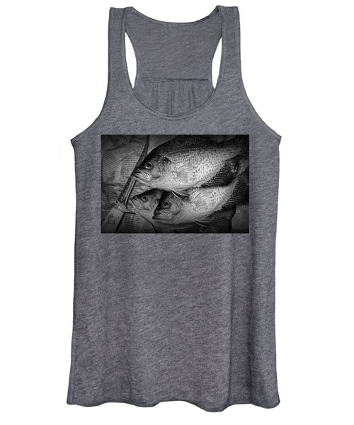 Black Crappie Panfish With Fish Filet Knife In Black And White Women's Tank Top